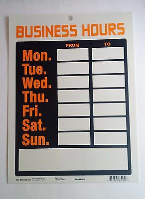 BUSINESS HOURS SIGN 9 x 12 NEW Store Orange White Black Hanging Plastic