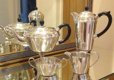 4 Piece Silver Plated Deco Tea Service By Barker Bros In Great Condition