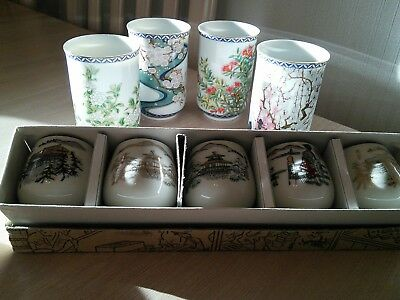 """4 Very Pretty Large 314"""" inch and 5 Small Boxed 134"""" Japanese Saki Cups"""