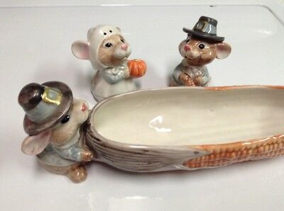 Vintage Fitz & Floyd Thanksgiving Pilgrim Mice Cracker/Relish Tray With Matching