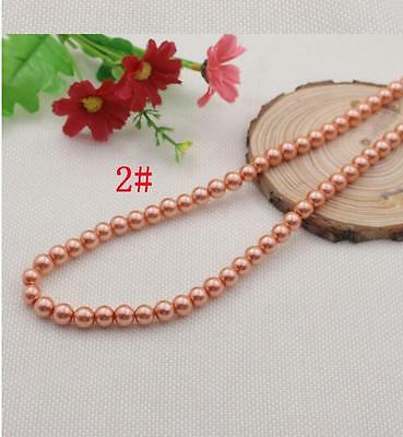 50PCS 8mm Glass Pearl Spacer Gold Color Round DIY Imitation Pearl beads