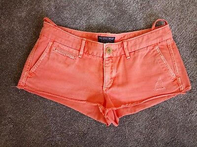 RALPH LAUREN Polo Jeans Ladies Orange Denim Shorts - Size 27