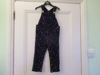 2-3 yrs: Lovely soft cord dungarees: Dark blue + red flowers: Baby GAP