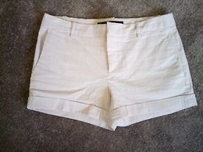ZARA Ladies White/Brown Stripe Tailored Shorts - Size Small