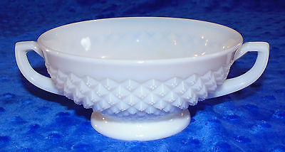 Vintage Milk Glass Open Sugar Dish Diamond Point Pattern