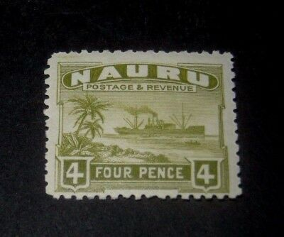 K.G.V MINT HINGED NAURU 4d FREIGHTER STAMP FROM 1924,,,,99p START.
