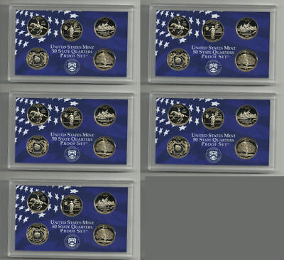 Lot Of 5  1999 Proof Washington State Quarters Sets 25 Coins