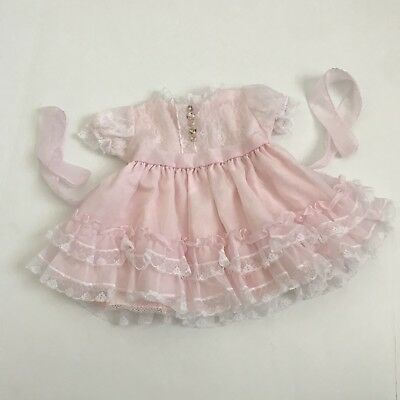 Vintage Marthas Miniatures Pink Sheer Girl Party Dress Ruffles Lace Girls