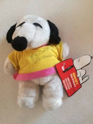 Snoopy Peanuts Peluche Bean Bag Vintage Anni 80 Nuovo