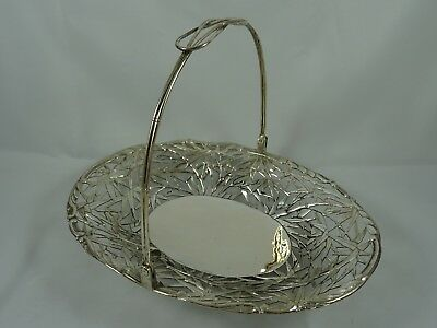 CHINESE EXPORT, solid silver FRUIT BASKET, c1900, 348gm