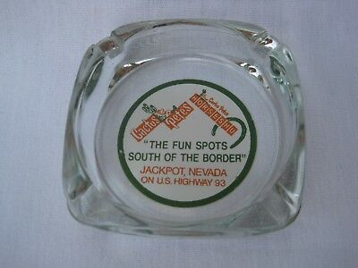 Vintage CACTUS PETE'S Horseshu CASINO Glass Ashtray JACKPOT NEVADA