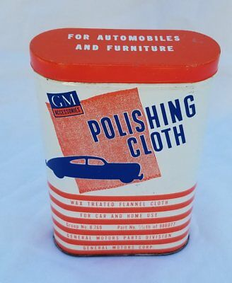 Vintage General Motors GM Polishing Cloth in Metal Can with Great Graphics