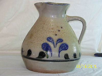 """Large"" Salt Glazed Hand Painted Crock Jug with Handle/Spout"