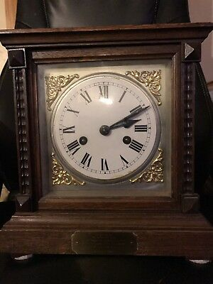 Beautiful Antique Wood Mantle Clock With Key
