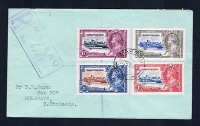 Basutoland 1935 Silver Jubilee set on Registered Cover to Bulawayo