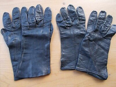 Ladies vintage black leather gloves x 2 pairs size 7