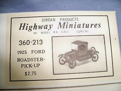 Jordan Products Highway Miniatures HO Scale 1925 Ford Roadster Pickup #360-213