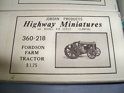 Jordan Products Highway Miniatures HO Scale Fordson Farm Tractor #360-218 Kit