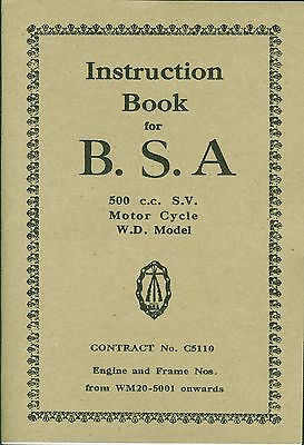 BSA Book WD M20 Contract 5110 Reprinted Instruction Manual WM20 500cc Side valve
