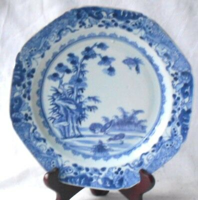 C18Th Chinese Blue And White Plate Decorated With Water Fowl And Willow