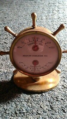 Vintage Peoples Coal & Oil Brass Weather Station Thermometer Barometer Nautical