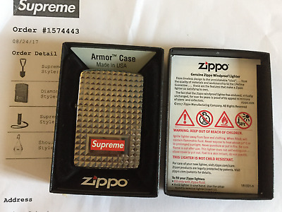 Supreme - Diamond Cut Zippo Feuerzeug Lighter SILBER / SILVER  SOLD OUT Bogo Box