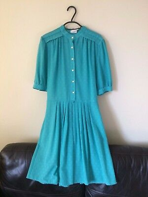 St Michael Vintage Pleated Turquoise Blue Green Dress 14 12 10 Mad Men style M&S