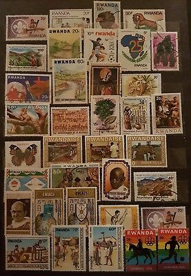 RWANDA stamps 60 stamps used and unused.