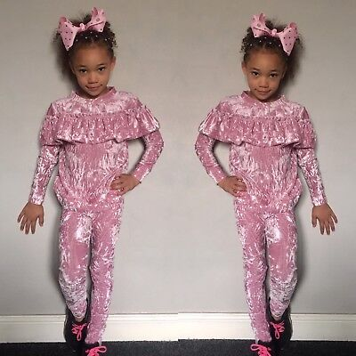 New Girls Pink Crushed Velour  Frill Tracksuit Loungewear Set Age 11-12 Years