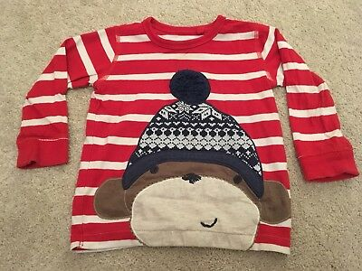 Next Baby Boys Long Sleeve Top With Winter/ Christmas Monkey 12-18 months
