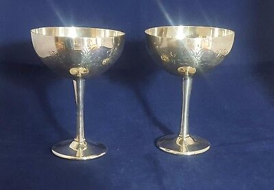 Beautiful Pair of Silver Plated Goblets