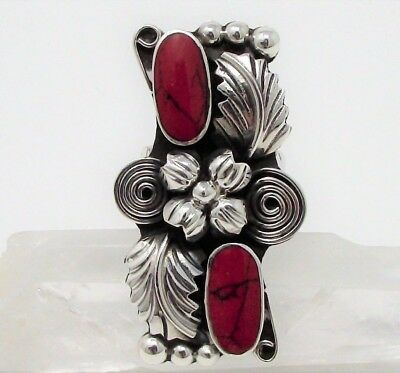 Sterling Silver Signed ESPERANZA Red Stone Southwest Squash Blossom Ring 1-3/4""