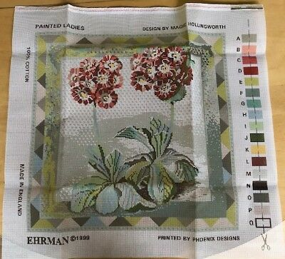 Ehrman Auricula Painted Ladies needlepoint tapestry kit by Magie Hollingsworth