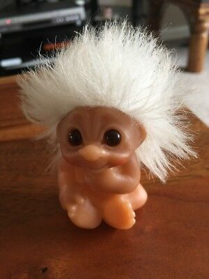 """Dam Troll Baby Infant White Hair 3"""" Approx 1985"""