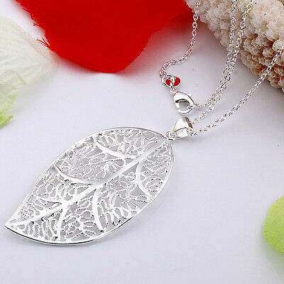 Solid 925 Sterling silver jewellery Hollow Leaf  Women necklace pendant chain
