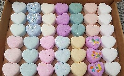 Handmade mini bath bomb hearts bundle  42 variety of lush scents froth and foam