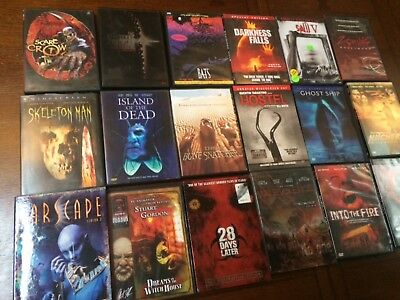 Lot of 19 Horror DVDs Bats Zombie - Snatcher - Hitch hiker -and More Ex. Cond.