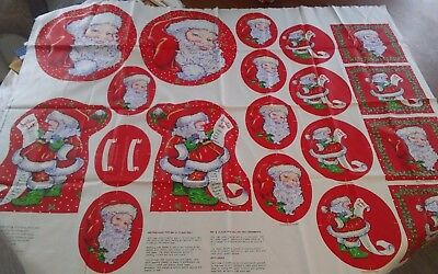 Vtg 1991 Cheryl Ann Johnson xmas fabric panel Santa Claus doll ornament 1 yd NEW