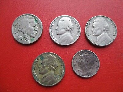 USA 5 old coins 1935 1940 1943 1946 1964  (ref 753)