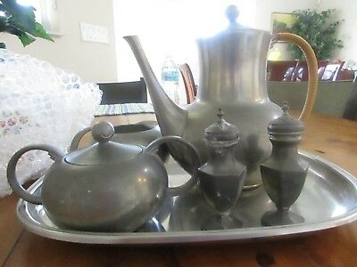 Royal Holland KMD Tiel Pewter Coffee Tea Set With Tray & Salt & Pepper Vintage