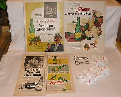 Lot of 4 Squirt 1950s Ads, 2 Squirt Bottle Openers, 33 Squirt Plastic Saver Caps