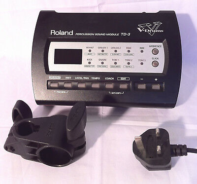 Roland TD-3 Electronic V Drum Trigger Sound Module Midi + Power + Clamp