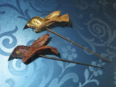 Two French 1920s Bird Hat Pin Decoration. Unused Millinery Stock.
