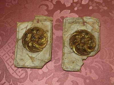 Matching Pair of French Unused Gilded Brass Picture Hook Covers..Late 19th C