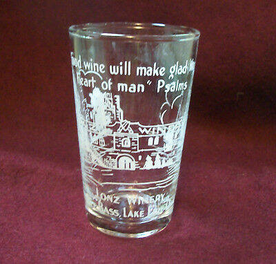 LONZ WINERY Middle Bass, Lake Erie Ohio Shot Wine Tasting Advertising Glass
