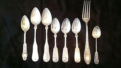 Variety of 7 Spoons 1 Fork /Coin Silver 900 and 850/19th Century 162.22 grams