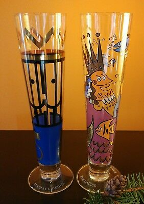 NEW (2) RITZENHOFF tall beer glasses Tim Davies 2001 Michael Sieger Collection