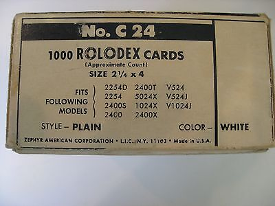 """Rolodex 1000 Cards 2.25""""x 4"""" White Vintage"""