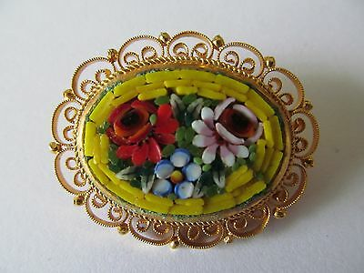 ITALIAN MICRO MOSAIC COLORFUL MULTI-TONES w/YELLOW BASE TILES PIERCED BROOCH PIN