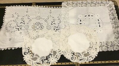 Antique Italian  Cutwork,bobbin Lace And Linen Mix Dollies Lot Of Four